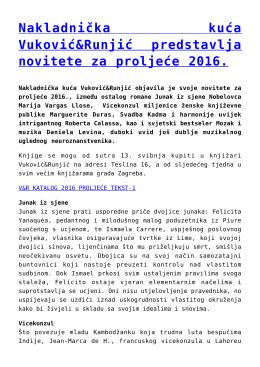 Nakladnička kuća Vuković&Runjić predstavlja novitete