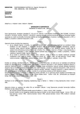Nacrt Sporazuma o konverziji tražbine po kreditu
