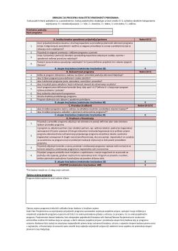 7. Obrazac za procjenu kvalitete/vrijednosti programa