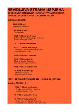 vozni red seminara - seminar nevidljiva strana uspjeha