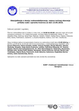 Pročitaj više - KJKP `Vodovod i kanalizacija`