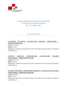 Program obilježavanja Europskog tjedna 2016. u Vukovarsko
