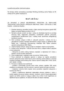 Natječaj za davanje u zakup neuređenog prostora u KBC Rijeka