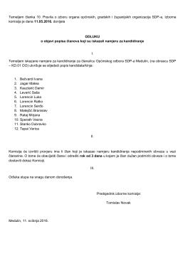 Odluka o objavi popisa članova koji su iskazali