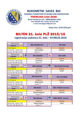 BILTEN 21. kola PLŽ 2015/16 RUKOMETNI SAVEZ BiH