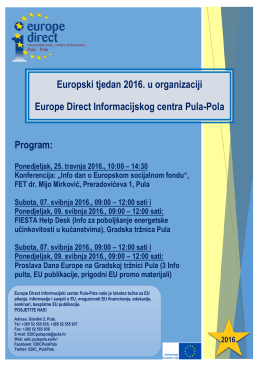 Program: Europski tjedan 2016. u organizaciji Europe Direct