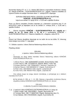 Elektroindustrija d.d. - Dopuna dnevnog reda Glavne Skupštine