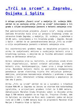 """""""Trči sa srcem"""" u Zagrebu, Osijeku i Splitu"""