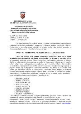 1 Povjerenstvo za provedbu Javnog natječaja za prijam u službu