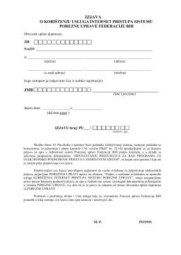 izjava - Porezna uprava Federacije BiH