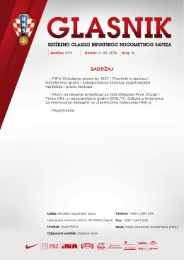 Glasnik 19/16 - Hrvatski nogometni savez