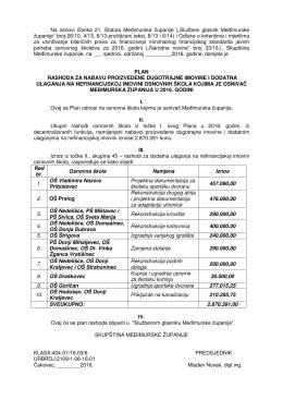 c) Prijedlog plana rashoda za nabavu proizvedene dugotrajne