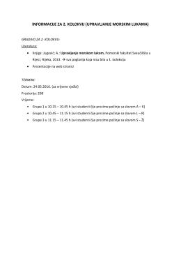 informacije za 2. kolokvij (upravljanje morskim lukama)