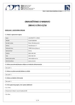 obavještenje o nabavci 280-8-2-178-3-2/16