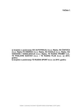 a) Izvješće o poslovanju KD AUTOTROLEJ d.o.o.