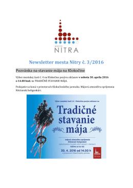 Newsletter mesta Nitry č. 3/2016
