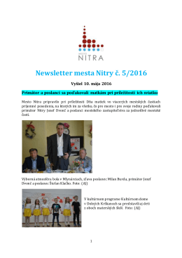 Newsletter mesta Nitry č. 5/2016