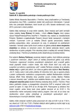 Trenčiansky samosprávny kraj Tlačová správa Trenčín, 12. máj