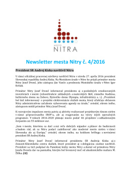 Newsletter mesta Nitry č. 4/2016