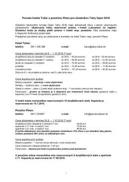 ponuka Toliar+Pleso - ŠK Slovan Bratislava