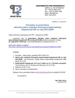 Pozvánka na prezentáciu Akčného plánu realizácie Koncepcie
