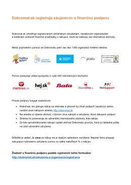 Dobromat.sk registruje záujemcov o finančnú podporu