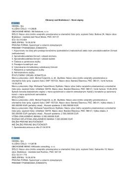 Okresnę súd Bratislava I 0 Nové zápisy R106905 ODDIEL