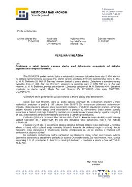 verejná vyhláška - Mesto Žiar nad Hronom