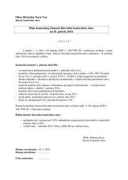 Návrh plánu - Diviacka Nová Ves