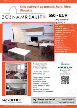 550,- EUR - Real Estate Slovakia