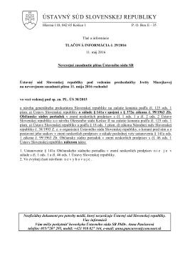 Tlač a informácie - Ústavný súd Slovenskej republiky