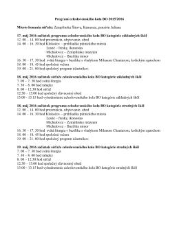 Program celoslovenského kola BO 2015/2016 Miesto konania
