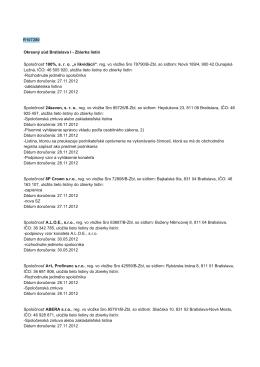 Spoloćnosť ABERA sro, reg. vo vlożke Sro 85791/B.Zbl, so