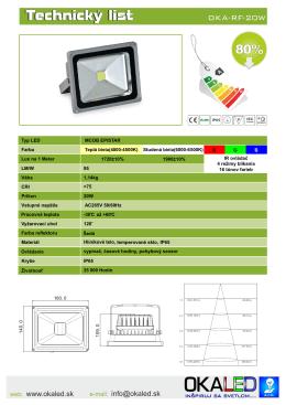 Technický list LED reflektor 20W