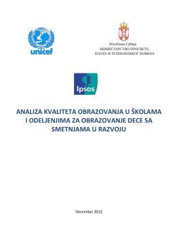 Позив за давање мишљења о Извештају УНИЦЕФ