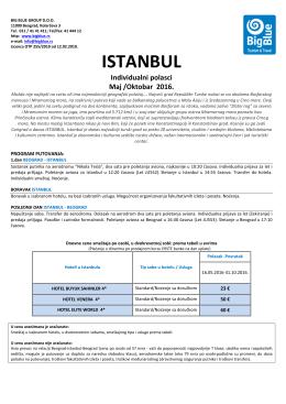 ISTANBUL do Oktobra 2016 - Turistička agencija Big Blue
