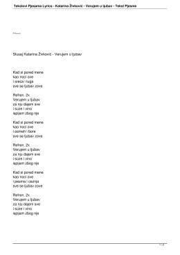 Tekstovi Pjesama Lyrics - Katarina Živković