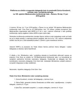 Platforma za učešće crnogorske delegacije koju