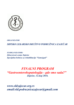 Finalni program - Podružnica Zaječar