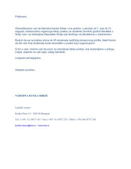 Poštovani, Obaveštavamo vas da Narodna banka Srbije i ove