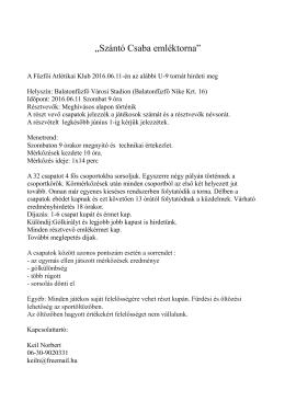 Szántó Csaba emléktorna