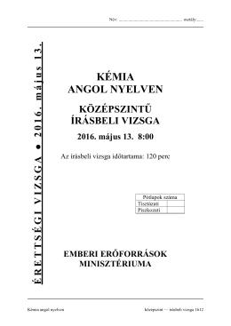 KÉMIA ANGOL NYELVEN