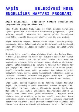 afşin belediyesi`nden engelliler haftası programı