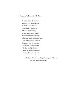 Chapman`ın Homer`ine İlk Bakış Gezdim altının diyarlarında Gördüm