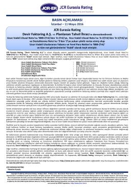 JCR Eurasia Rating Devir Faktoring A.Ş. ve Planlanan Tahvil İhracı