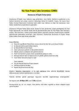 Yüz Yüze Projesi Saha Sorumlusu (İZMİR)