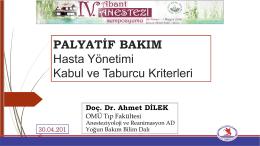 Doç. Dr. Ahmet Dilek - IV. Abant Anestezi Sempozyumu