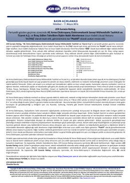 JCR Eurasia Rating, Periyodik gözden geçirme sürecinde AE Arma