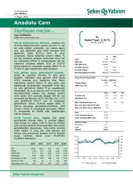Anadolu Cam - Şeker Yatırım