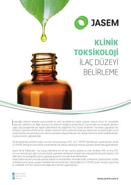 klinik toksikoloji ilaç düzeyi belirleme